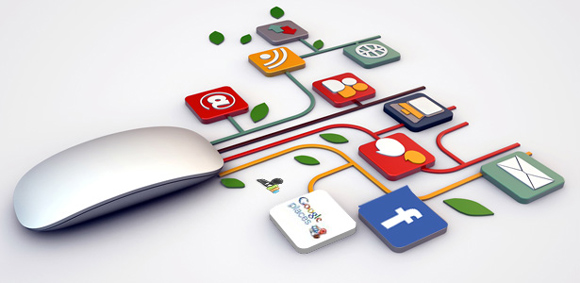 Image of a mouse with digital marketing images.